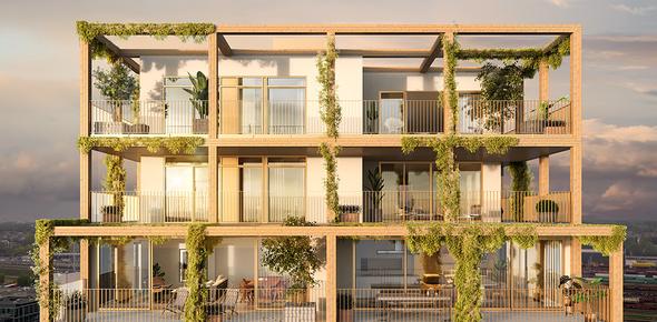De Nieuwe Dokken Pergola Noordveld Caaap Van Roey Schipperskaai Development Onix Architecten Terassen Groen Penthouse Appartementen Header